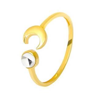 Zlatý prsteň 375 - lesklý polmesiac, číry zirkón v tvare kabošonu - Veľkosť: 51 mm