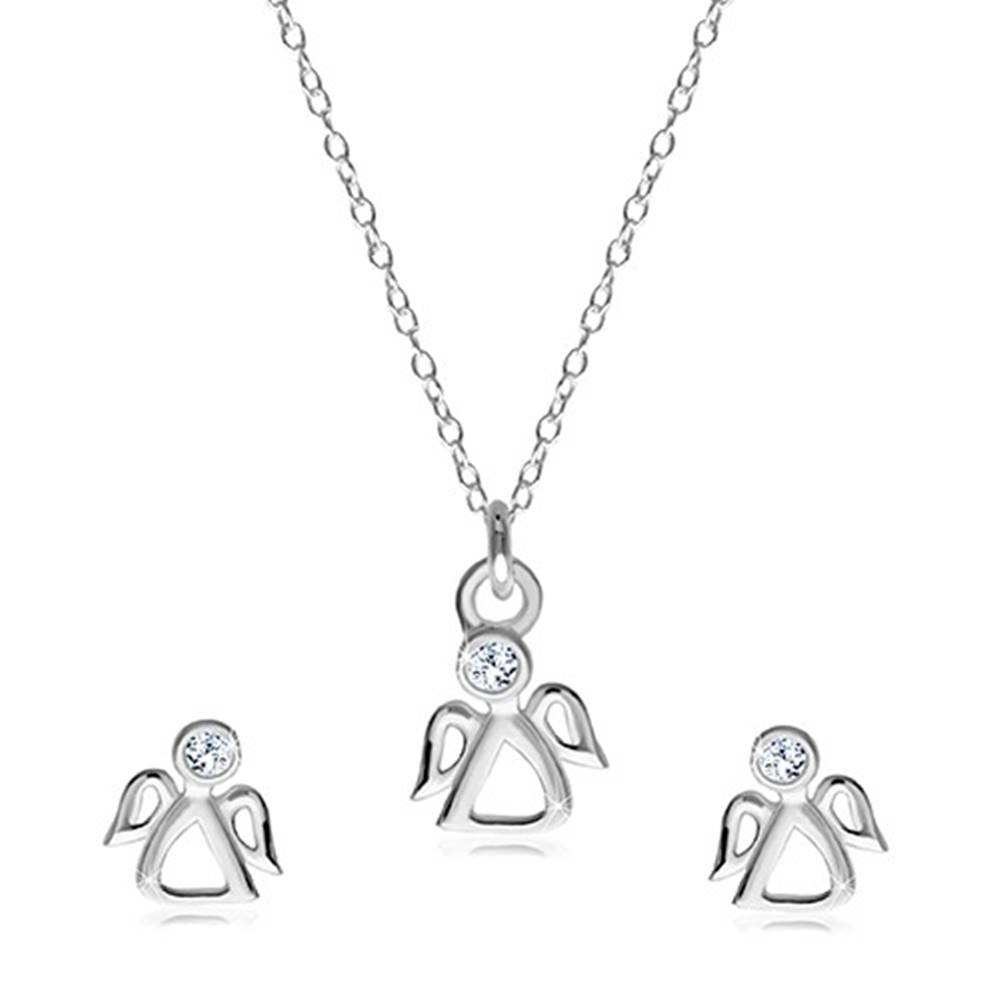 Šperky eshop Dvojset zo striebra 925 - náušnice a náhrdelník, vykrajovaný anjelik s čírym zirkónom