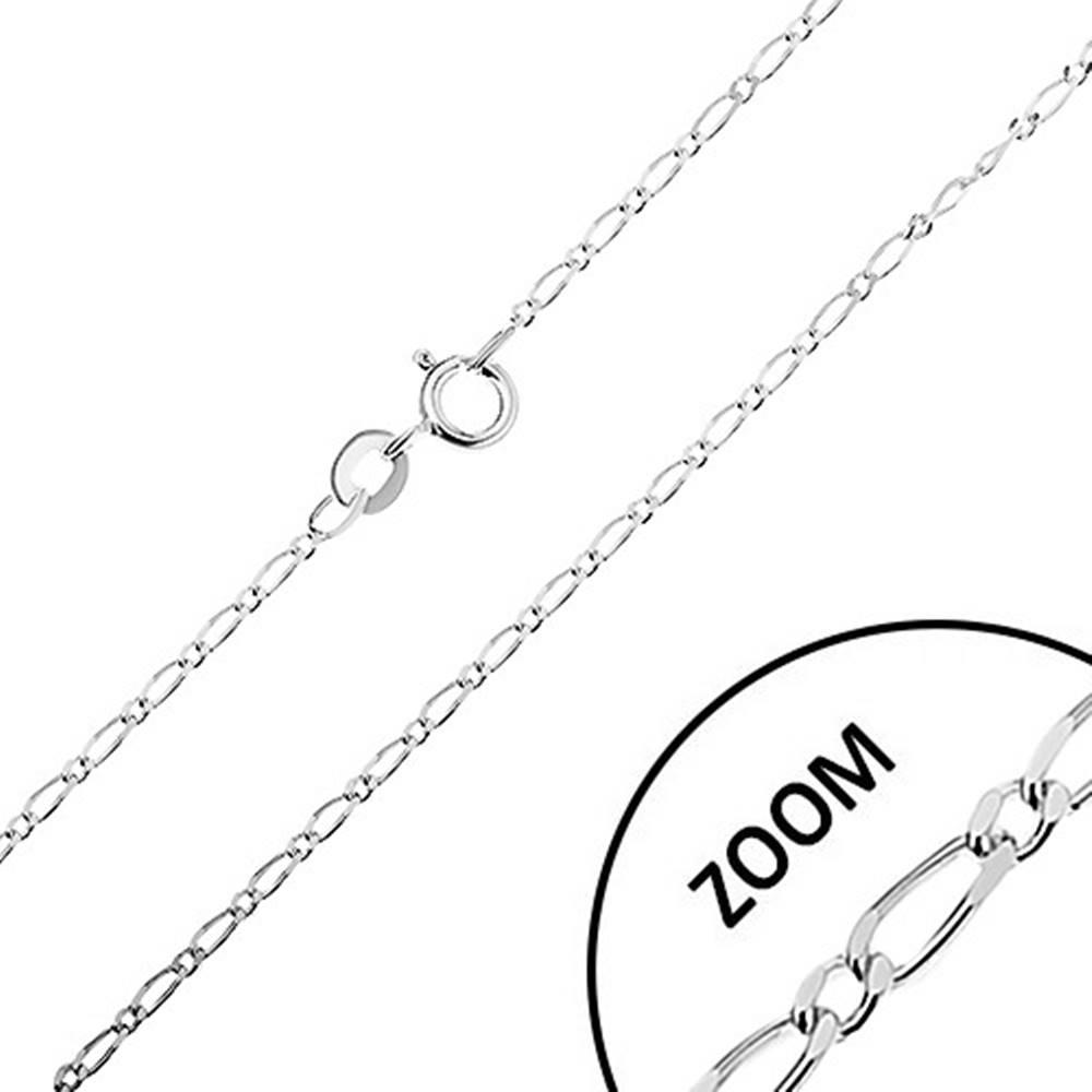 Šperky eshop Lesklá strieborná retiazka 925, dlhé a krátke oválne články, šírka 1,3 mm, dĺžka 500 mm