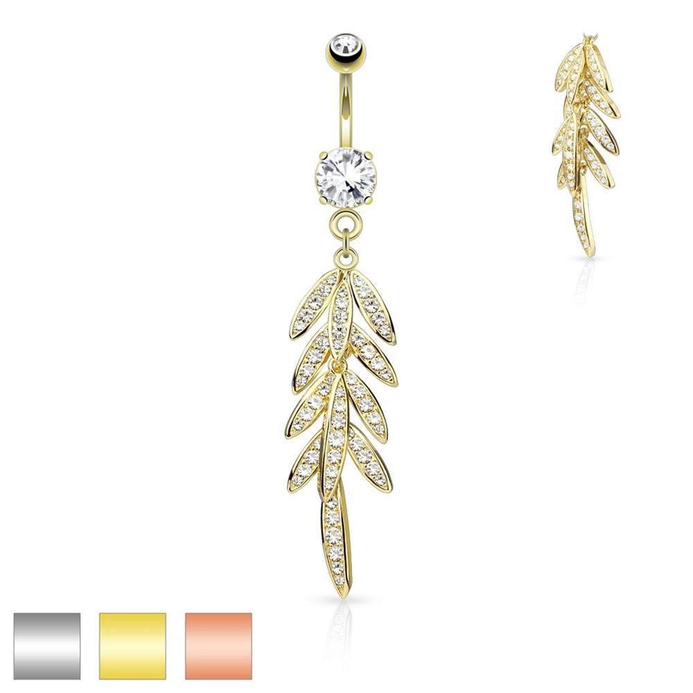 Šperky eshop Piercing do bruška z ocele - visiace listy so zirkónikmi, trblietavý zirkón v kotlíku - Farba piercing: Medená
