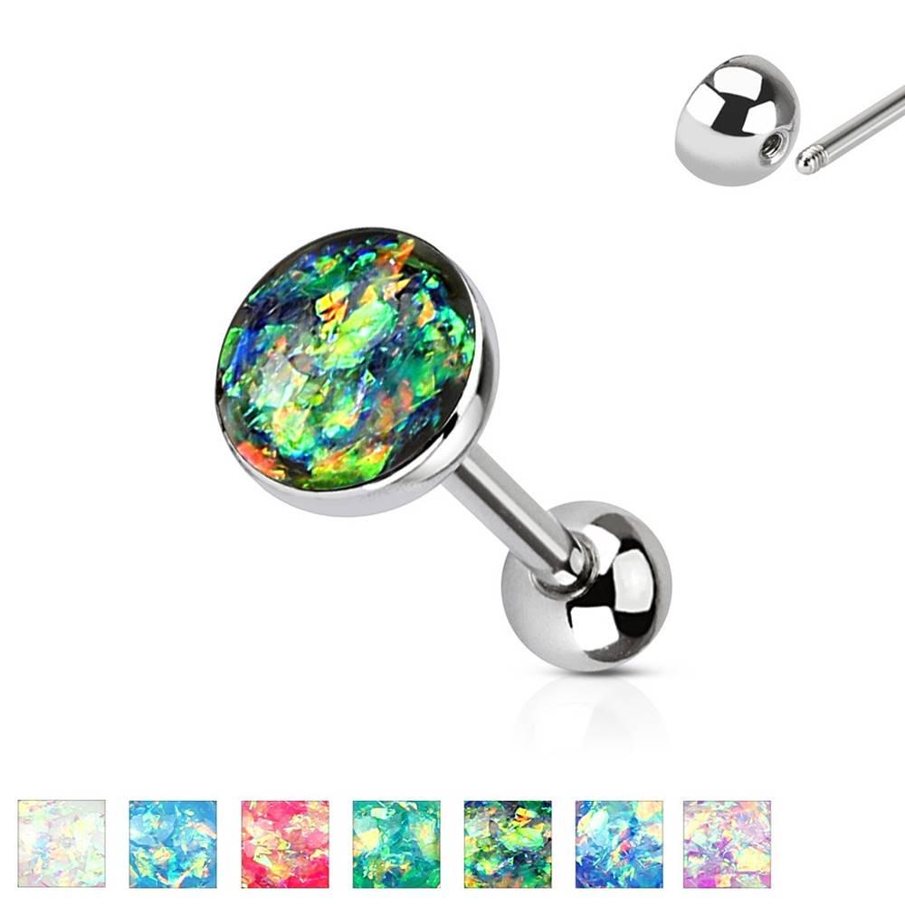 Šperky eshop Piercing do jazyka z ocele 316L - syntetický opál, rôzne farebné kombinácie - Farba piercing: Aqua