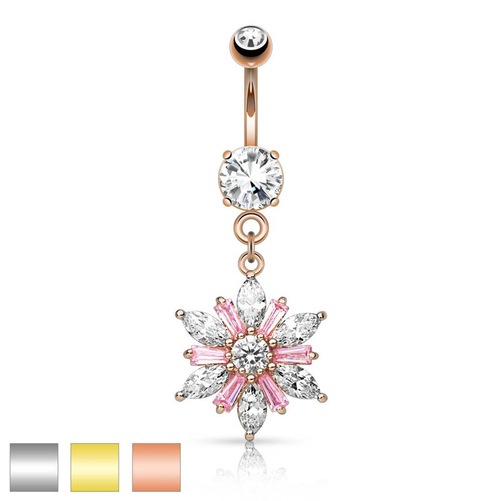 Šperky eshop Piercing do pupku z chirurgickej ocele - trblietavý kvet, číre a ružové zirkóny, rôzne farby - Farba piercing: Medená