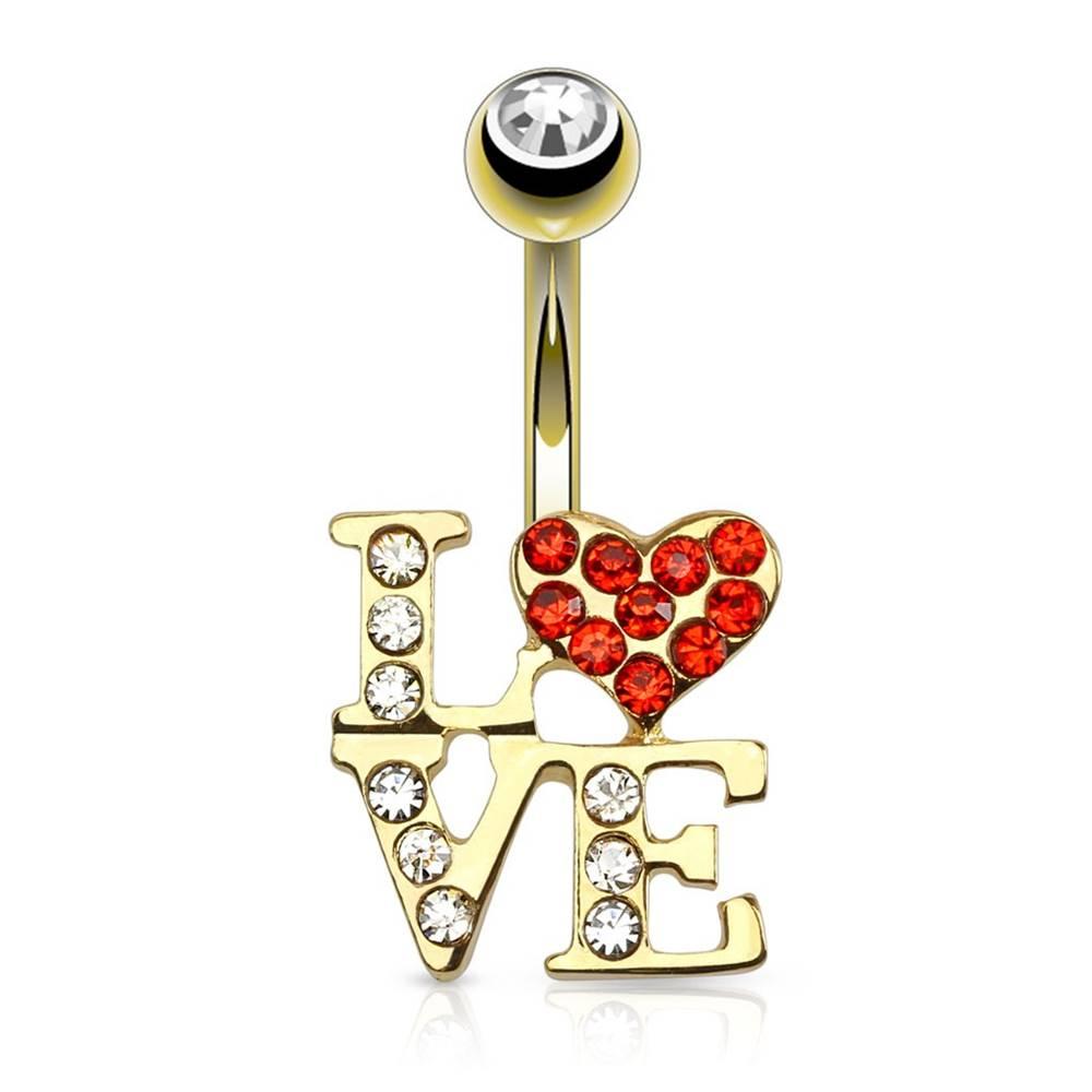 Šperky eshop Piercing do pupku z ocele v zlatej farbe - nápis LOVE, srdiečko, zirkón v guľôčke