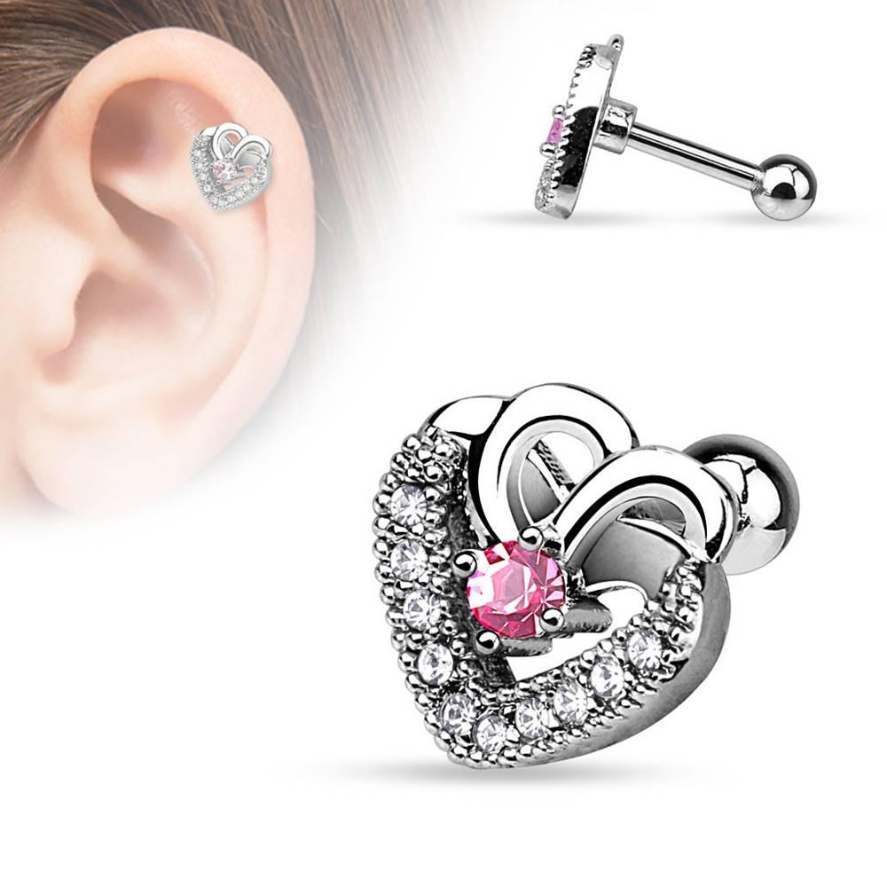 Šperky eshop Piercing do tragusu z ocele 316L - srdce, ružový zirkón, číre zirkóny, ródiovaný