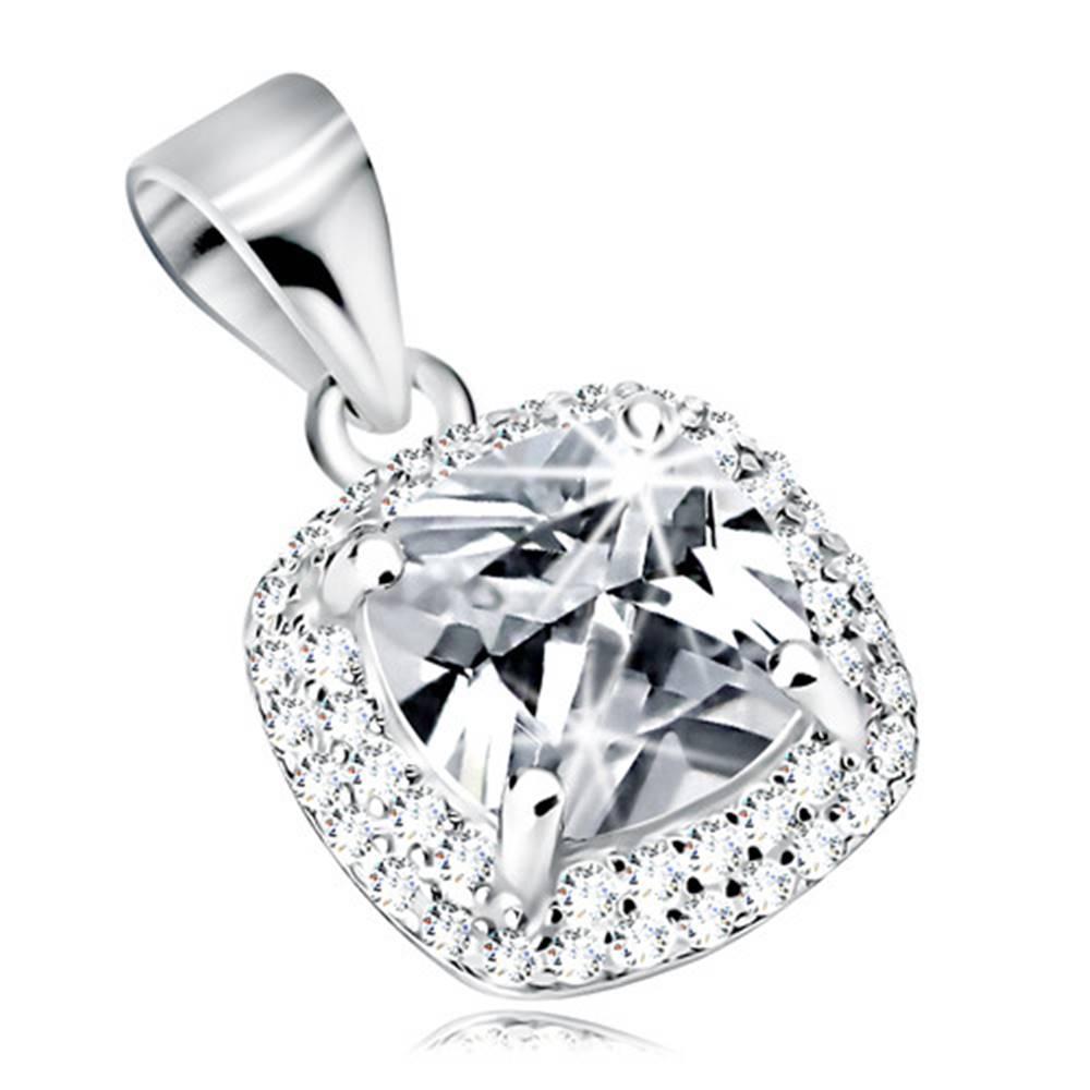 Šperky eshop Prívesok zo striebra 925, ligotavý štvorcový zirkón čírej farby, zirkónový lem