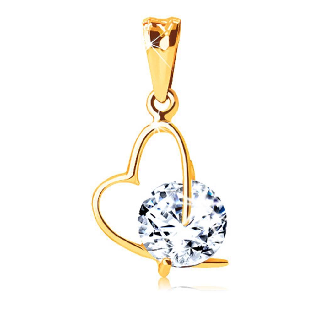 Šperky eshop Prívesok zo žltého zlata 585 - kontúra asymetrického srdca, veľký trblietavý zirkón