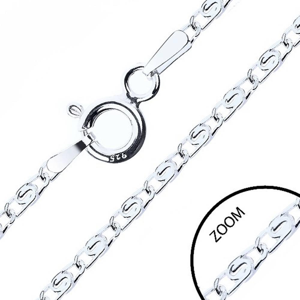 Šperky eshop Retiazka zo striebra 925, prekladané očká s esíčkom, šírka 2,1 mm, dĺžka 500 mm