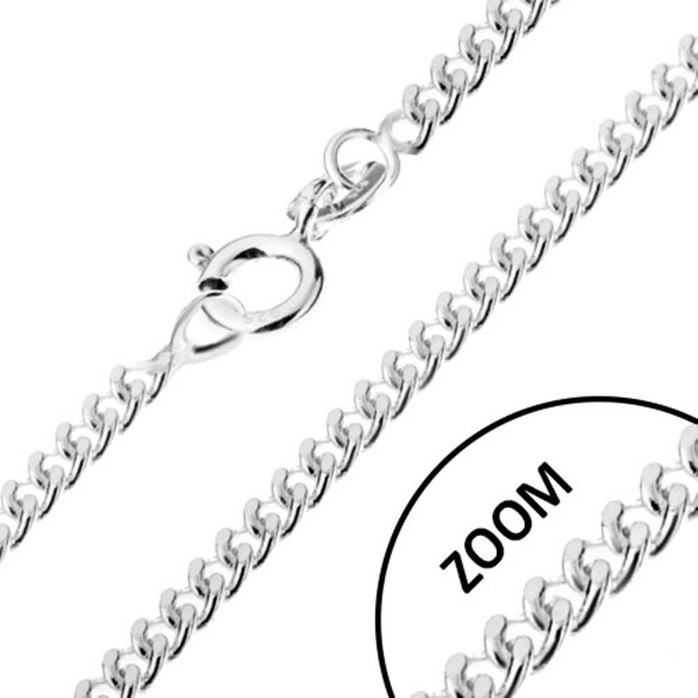 Šperky eshop Retiazka zo zatočených oválnych očiek, striebro 925, šírka 1,7 mm, dĺžka 500 mm
