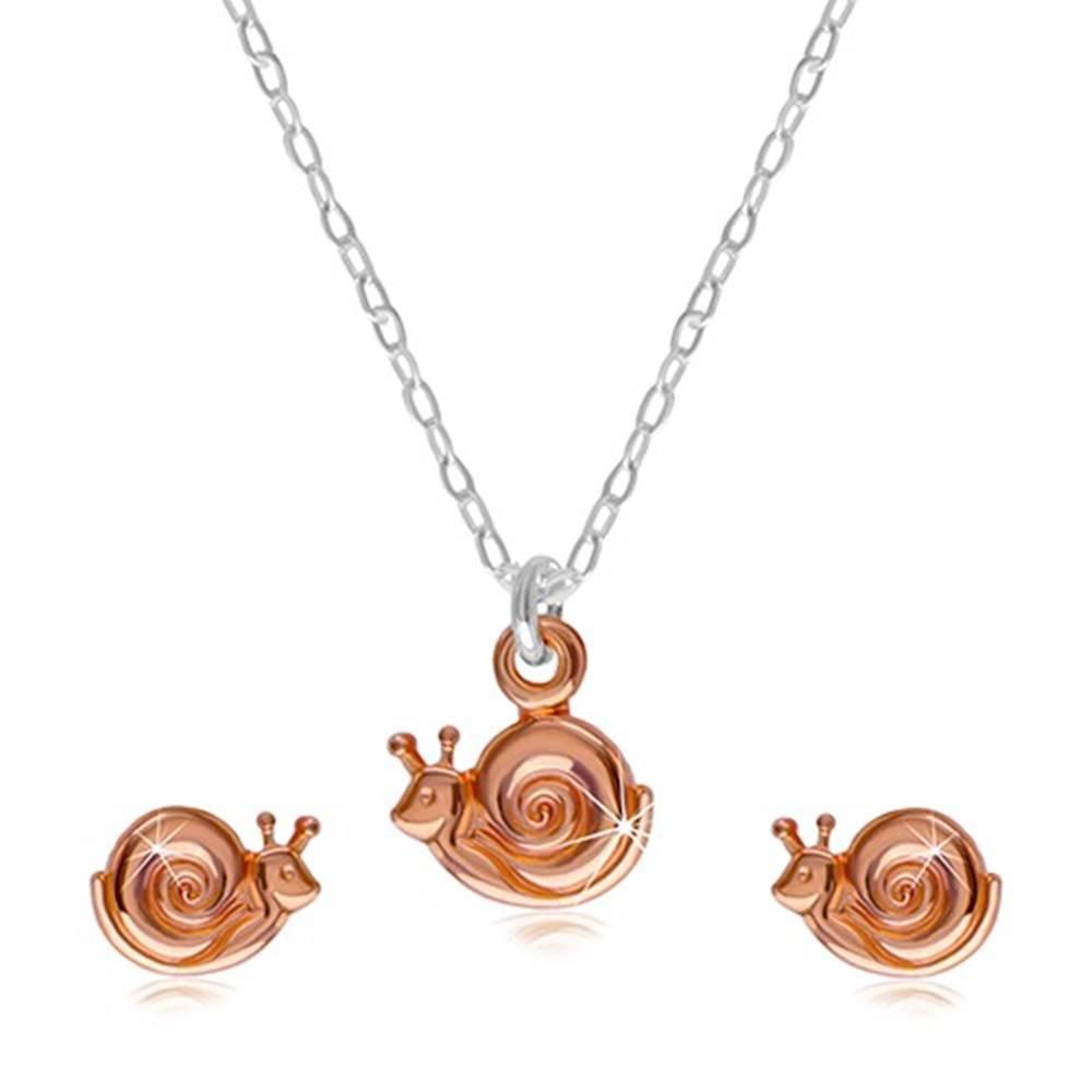 Šperky eshop Sada zo striebra 925 - náhrdelník a náušnice, slimáčik s ulitou v medenej farbe