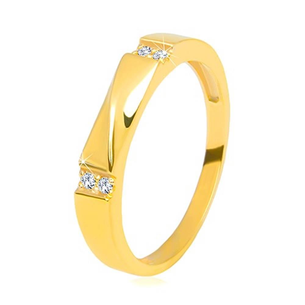 Šperky eshop Zlatá obrúčka v 14K zlate - číre zirkóny, lesklá vlnka, hladké ramená, 3,5 mm - Veľkosť: 58 mm