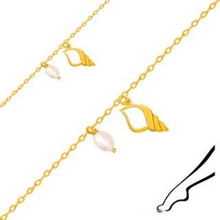 Náramok na nohu zo žltého 14K zlata - kontúra mušle s výrezom, dve oválne perly