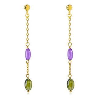 Puzetové náušnice zo 14K zlata - fialový a olivovozelený zirkón, jemná retiazka