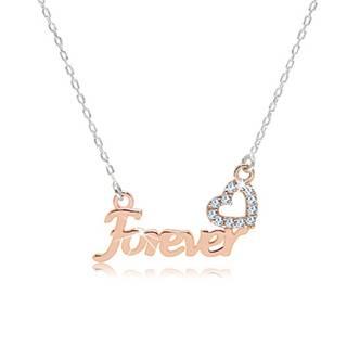 """Strieborný náhrdelník 925 - nápis """"Forever"""" v ružovozlatom odtieni, zirkónové srdiečko"""