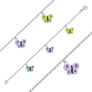 Strieborný náramok 925 pre deti - motýliky so zelenou a fialovou glazúrou