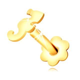 Zlatý 375 piercing do nosa - obrys morského koníka a kvietku s oblými lupeňmi