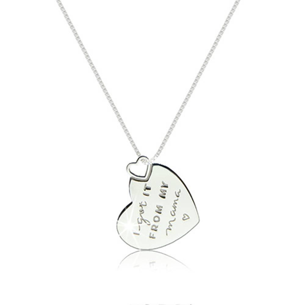 Šperky eshop Lesklý náhrdelník zo striebra 925 - ploché srdiečko s ozdobným nápisom