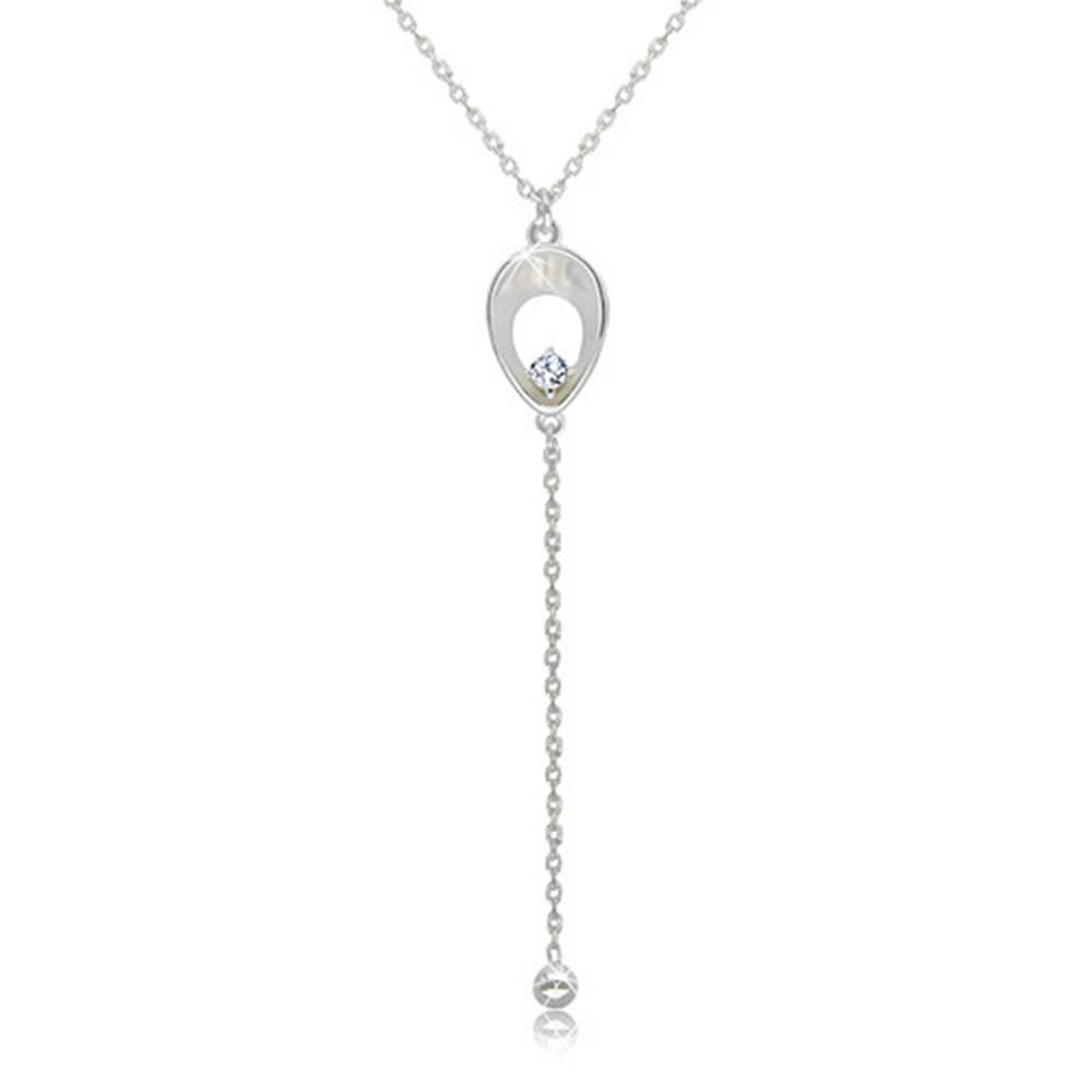 Šperky eshop Náhrdelník zo striebra 925 - obrátená slza s trblietavým zirkónikom, lesklá retiazka s guličkou