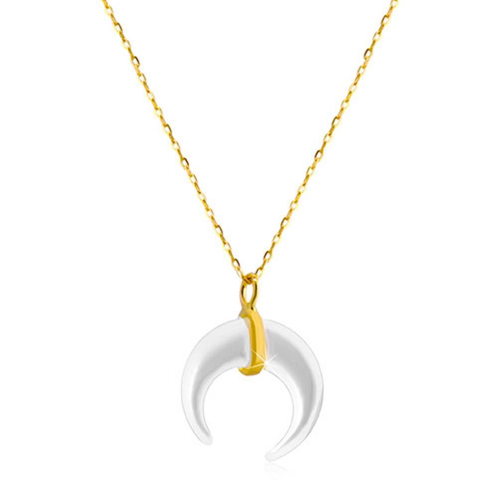 Šperky eshop Náhrdelník zo žltého zlata 585 - motív perleťového mesiačika