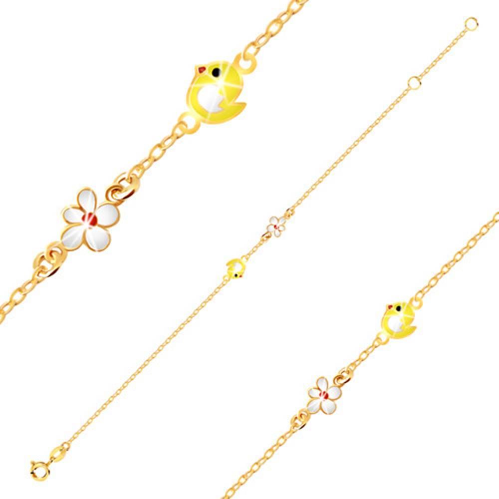 Šperky eshop Náramok v žltom 9K zlate - kuriatko so žltou glazúrou, kvietok s bielou glazúrou