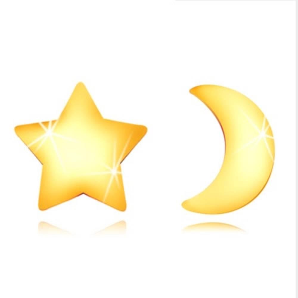 Šperky eshop Náušnice v žltom 9K zlate - lesklý mesiačik a hviezdička, puzetky