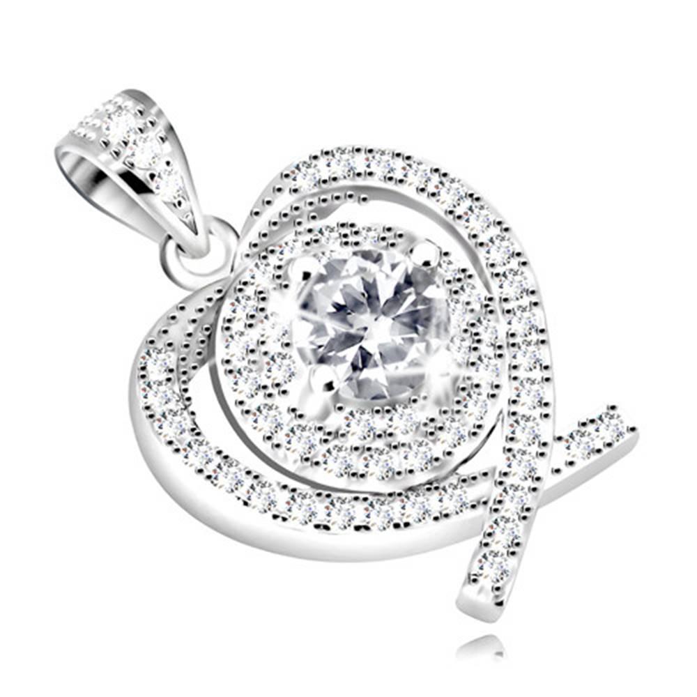 Šperky eshop Prívesok zo striebra 925 - kontúra srdca z prekrížených línií, číry zirkón uprostred
