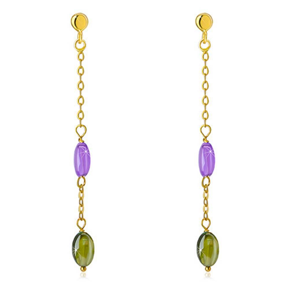 Šperky eshop Puzetové náušnice zo 14K zlata - fialový a olivovozelený zirkón, jemná retiazka