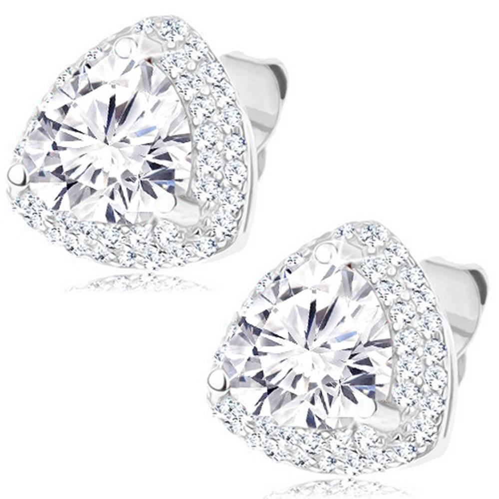 Šperky eshop Puzetové strieborné 925 náušnice - ligotavý zirkónový trojuholník, číry lem