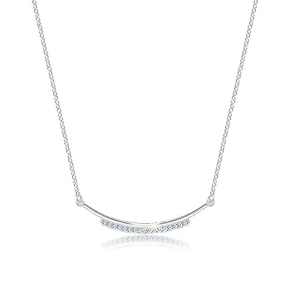 Šperky eshop Strieborný 925 lesklý náhrdelník - zaoblená kontúra zdobená zirkónovou líniou