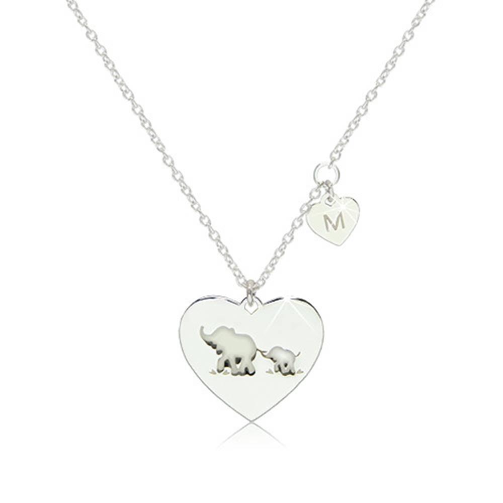 """Šperky eshop Strieborný 925 náhrdelník - dve lesklé symetrické srdiečka so sloníkmi a písmenom """"M"""""""