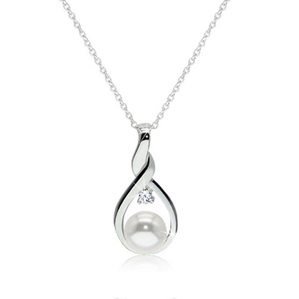 Šperky eshop Strieborný 925 náhrdelník - kontúra zatočenej slzy s bielou perlou a čírym zirkónom uprostred