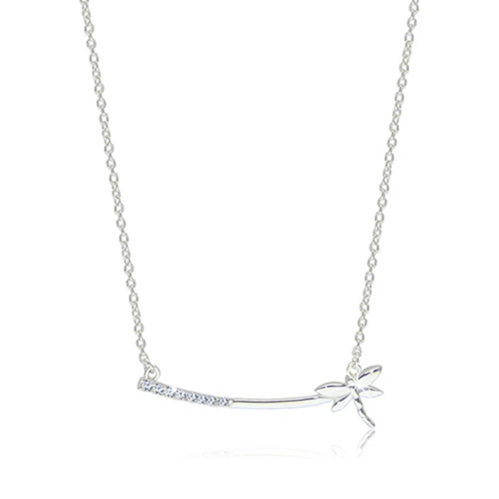 Šperky eshop Strieborný 925 náhrdelník - lesklá vážka na úzkej paličke so zirkónikmi čírej farby