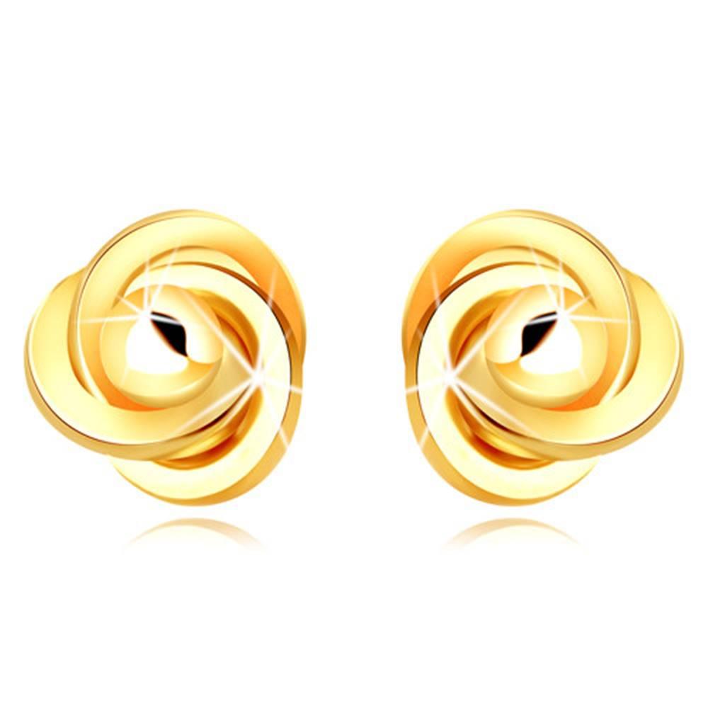 Šperky eshop Zlaté 9K náušnice - tri prepletené prstence s hladkou guľôčkou, puzetky