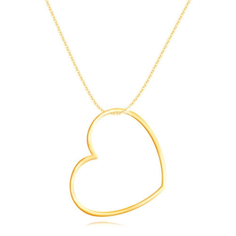 Šperky eshop Zlatý 9K náhrdelník - úzka lesklá kontúra srdca, oválne očká