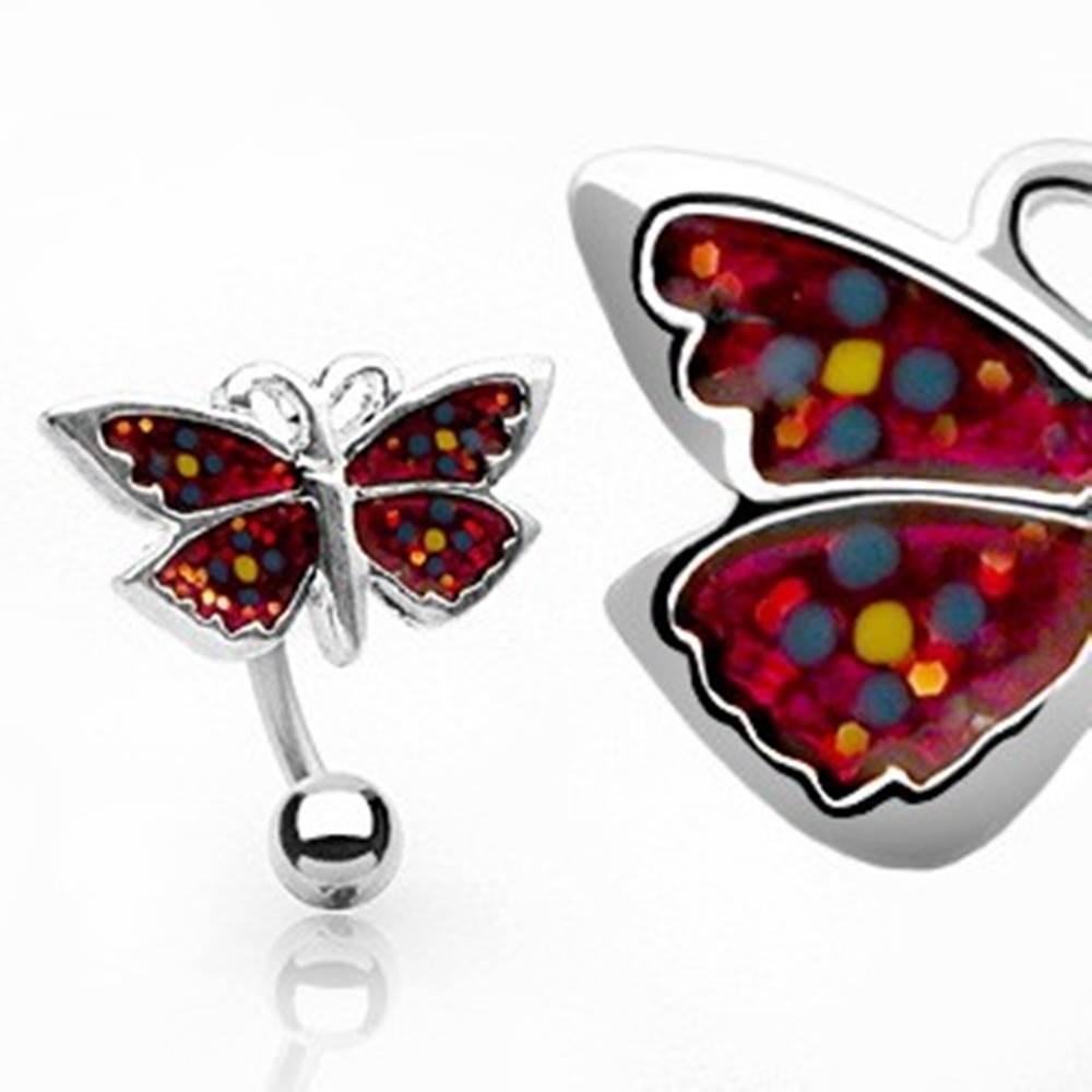 Šperky eshop Piercing do pupku kvietkovaný motýlik
