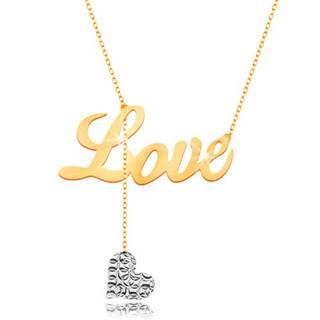 Náhrdelník v 9K zlate - nápis Love, visiace srdiečko z bieleho zlata na retiazke