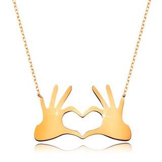 Náhrdelník zo žltého 9K zlata - srdce z dvoch spojených dlaní, jemná retiazka