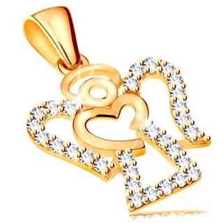 Prívesok zo žltého 14K zlata - zirkónový obrys anjela, lesklé srdiečko