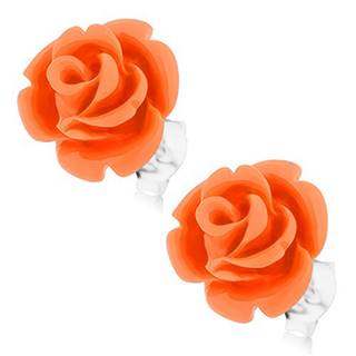 Strieborné 925 náušnice, ruža v rozkvete, puzetové zapínanie