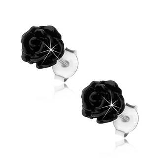 Strieborné náušnice 925, lesklá rozkvitnutá ružička čiernej farby, puzetky