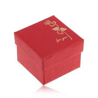 """Trblietavá červená krabička na prsteň, kvet v zlatej farbe, """"for you"""""""