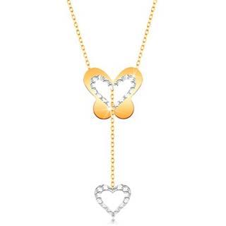 Zlatý 9K náhrdelník - motýľ s výrezom a visiacou kontúrou srdiečka na retiazke
