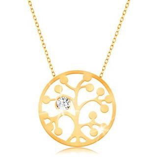 Zlatý náhrdelník 375 - kruh s vyrezávaným stromom a čírym zirkónikom