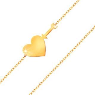 Zlatý náramok 585 - tenká ligotavá retiazka, lesklé ploché srdce a šíp