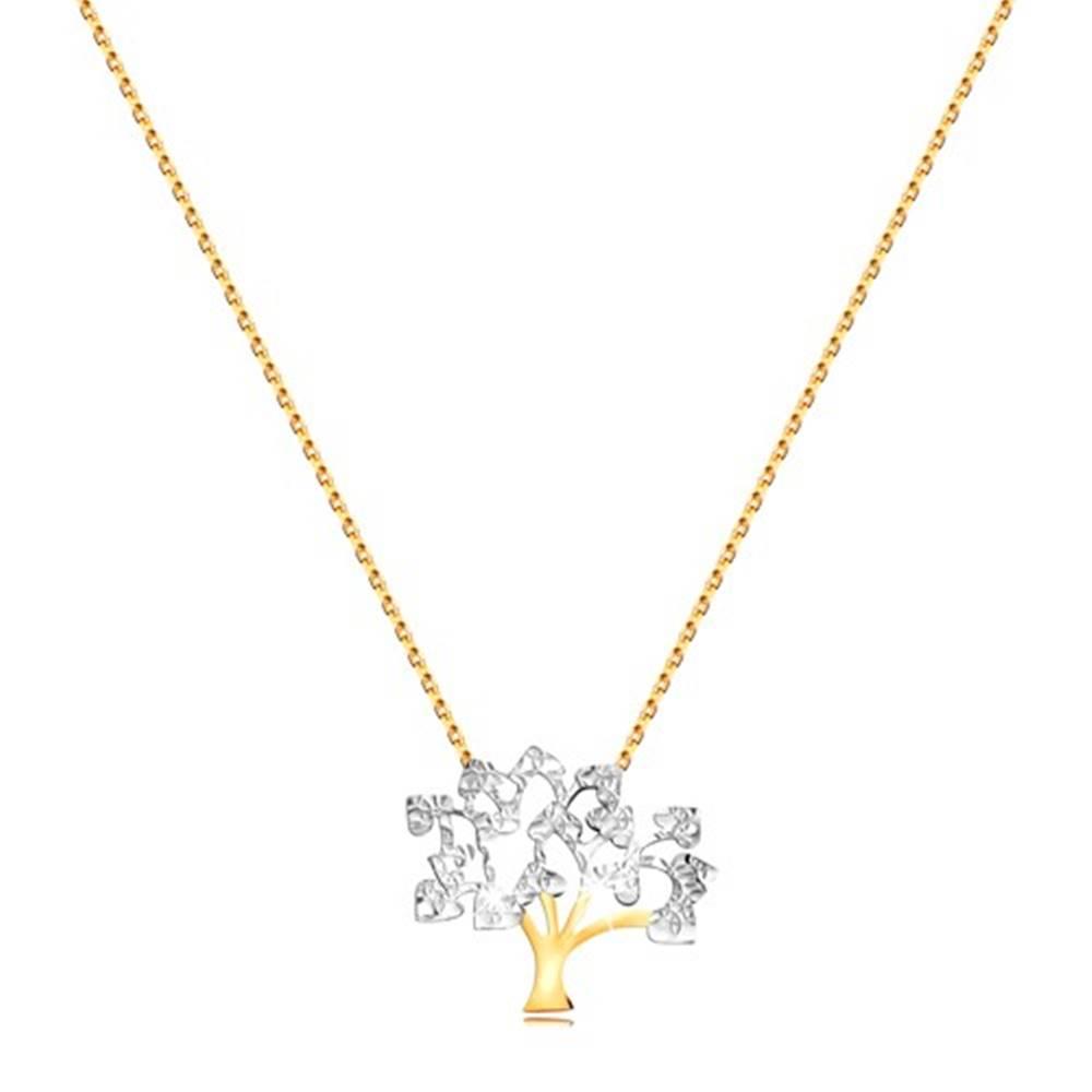 Šperky eshop Náhrdelník v 9K zlate - jemná retiazka, ligotavý dvojfarebný strom života