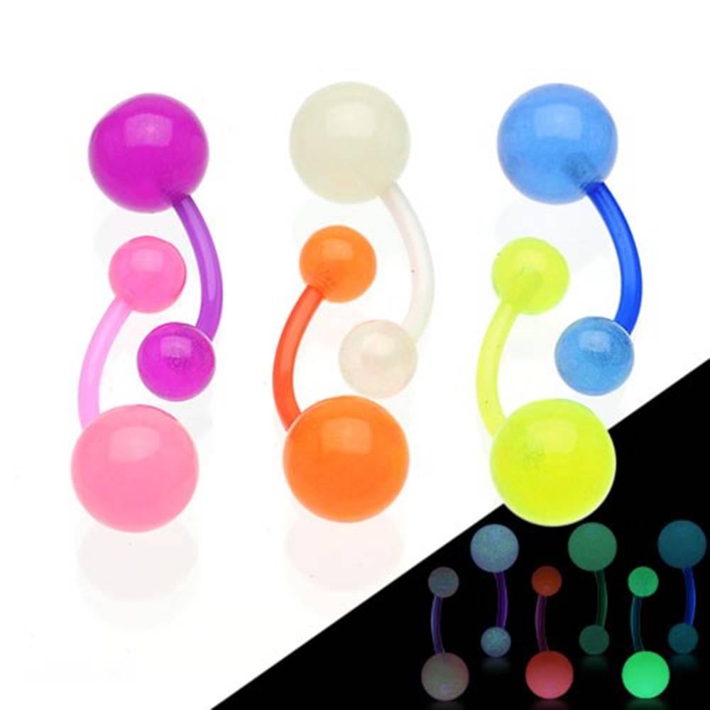 Šperky eshop Piercing do pupka svietiaci v tme, flexibilný materiál, dve guličky - Farba piercing: Biela