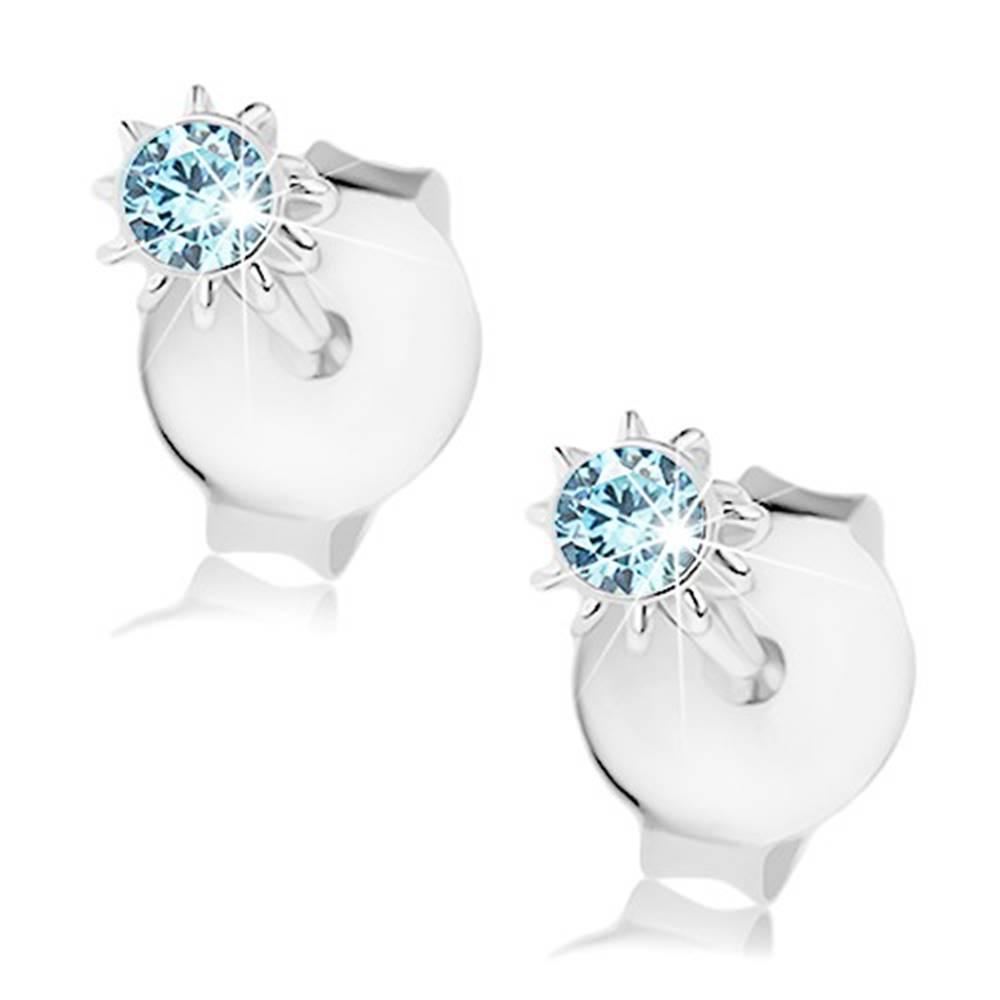 Šperky eshop Strieborné 925 náušnice, kvietok s modrým krištálikom Swarovski