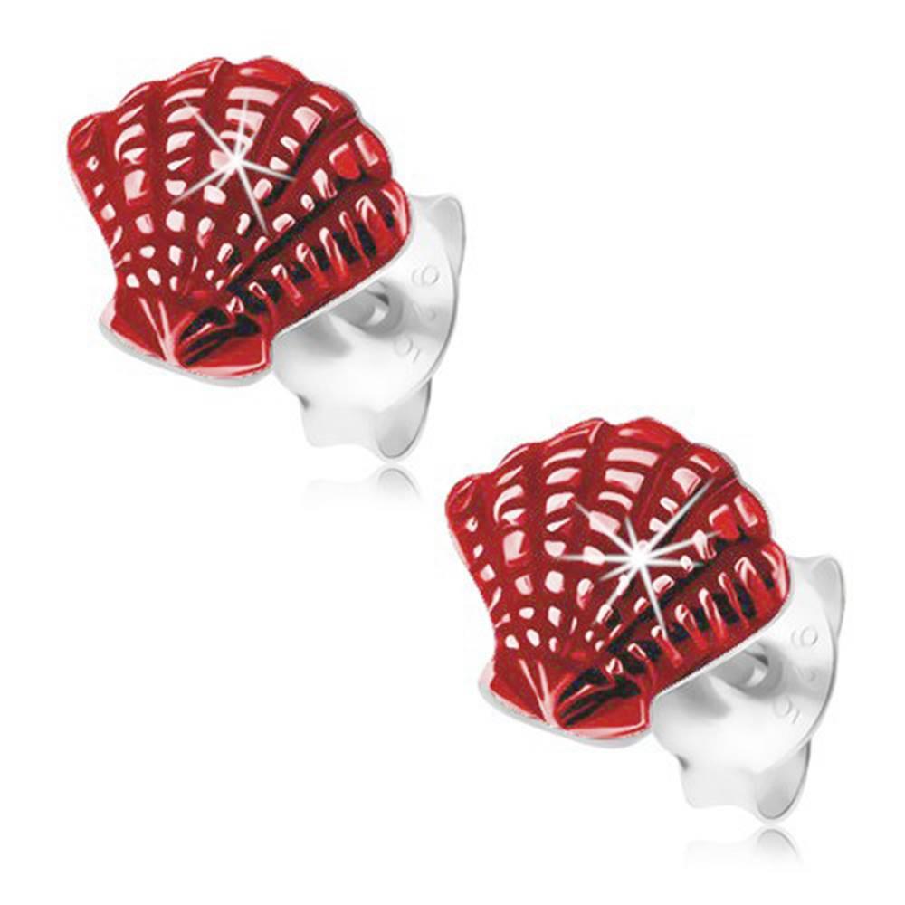Šperky eshop Strieborné náušnice 925, gravírovaná morská mušľa, červená glazúra, puzetky