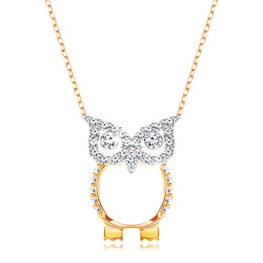 Šperky eshop Zlatý 9K náhrdelník - retiazka z oválnych očiek, sova zdobená čírymi zirkónikmi