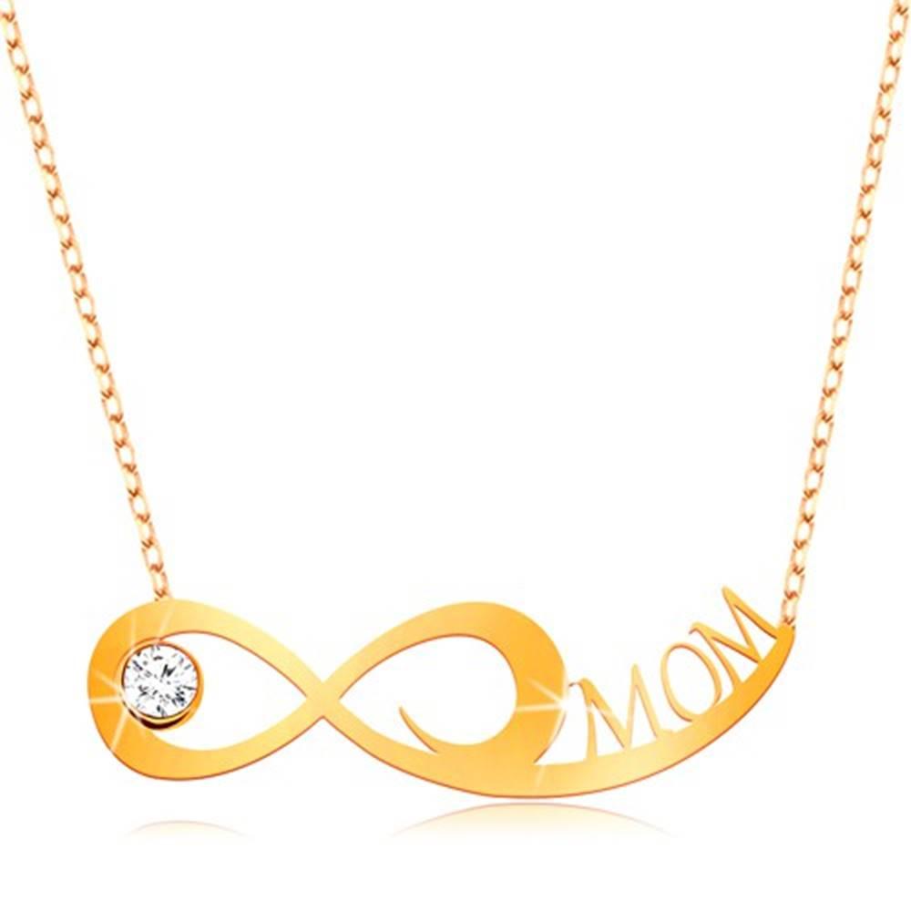 Šperky eshop Zlatý náhrdelník 375 - jemná retiazka, symbol nekonečna, číry zirkón a nápis MOM