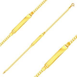 Lesklý zlatý 585 náramok - oválne ploché očká a lesklá platnička, 200 mm